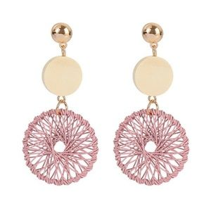 Jewelry - NEW Dreamcatcher Wooden Round Long Earrings (Pink)